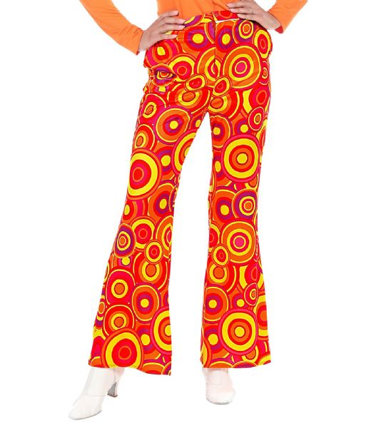 70s Lady Pants - Orange Bubbles Trouser Pants 70s Fancy Dress
